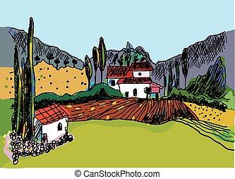 esboço, natureza, fazenda, -, casas, paisagem