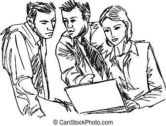 esboço, negócio, trabalhe pessoas, sucedido, escritório., laptop, ilustração, vetorial