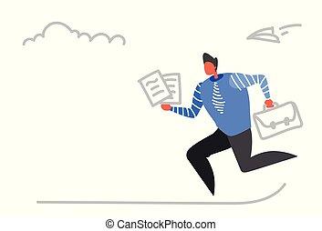esboço, ocupado, pasta, negócio, doodle, escritório, trabalhador, trabalhador, papel, executando, conceito, prazo de entrega, homem negócios, horizontais, macho, reunião, documentos