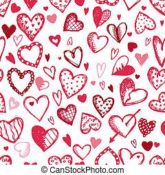 esboço, padrão, seamless, valentine, desenho, corações, desenho, seu