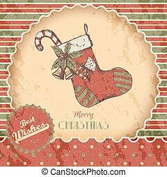 esboço, poster., clássicas, -, ano, sinos, style., cartão, vindima, doce, meia, experiência., desenhado, natal, grunge vermelho, ilustração, mão, novo, colorido, ou, vetorial, verde, xmas