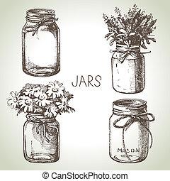 esboço, rústico, set., mão, desenho, desenhado, jarros, enlatar, pedreiro