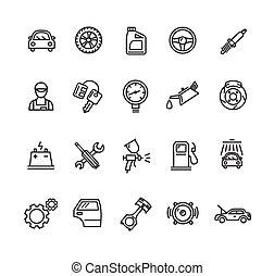 esboço, serviço, ícones, car, set., vetorial