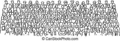 esboço, torcida, pessoas negócio, doodle, linhas, isolado, ilustração, mão, vetorial, experiência preta, desenhado, branca, quarto encontrando