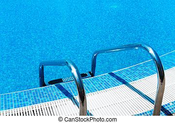 escada, piscina, natação