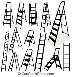escada, vetorial, pretas, ilustração