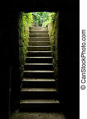 escadaria, escuro, ao ar livre, sala, brilho