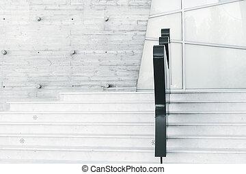 escadas, abstratos, branca, modernos, minimalism, arquitetura