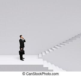 escadas, homem negócios fica