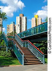 escadas, overbridge, parque