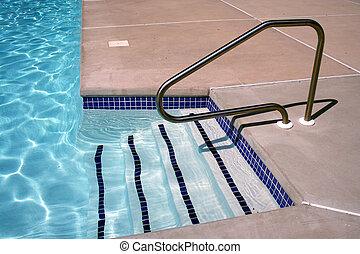 escadas, piscina, natação