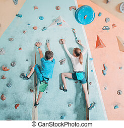 escalando, crianças, dois, gym.