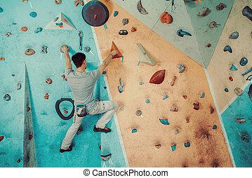 escalando, ginásio, homem