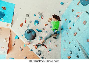 escalando, ginásio, mulher, exercitar
