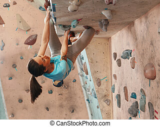 escalando, ginásio, mulher, prática