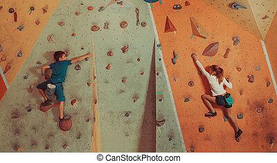 escalando, indoor, crianças