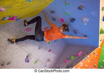 escalando, menina, indoor