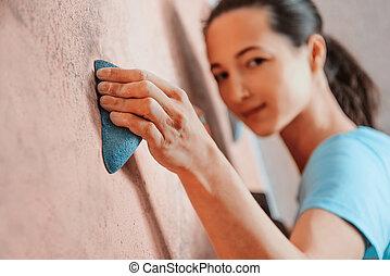 escalando, menina, indoor, sporty