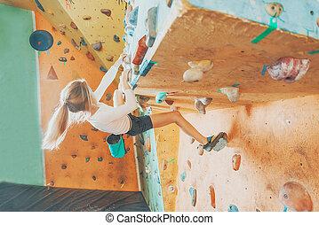 escalando, menina, prática, ginásio