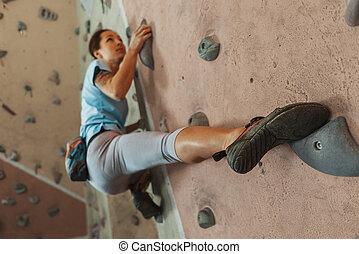 escalando, mulher, indoor, jovem