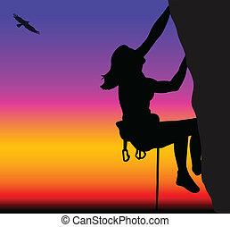 escalando, mulher, rocha