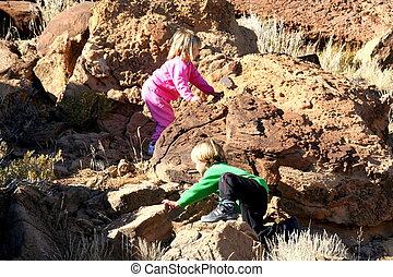 escalando, pedras