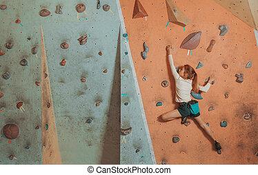 escalando, pequeno, indoor, menina