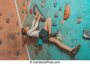 escalando, pequeno, indoor, sporty, menina
