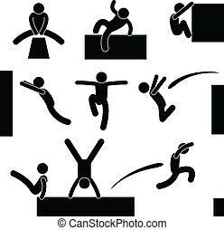 escalando, pulo, pular, parkour, homem