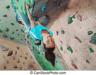 escalando, sportswoman, indoor, feliz