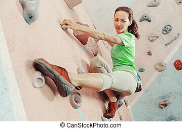 escalando, sportwoman, gym.