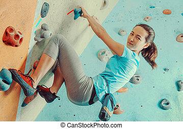 escalando, treinamento, mulher, ginásio