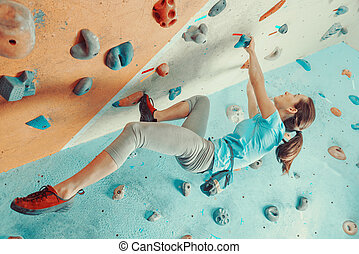escalando, treinamento, mulher, ginásio, jovem