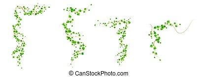escalando, verde, videira, hera, cantos, jogo, folhas
