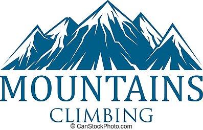 escalar montanha, vetorial, desporto, ícone