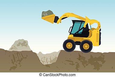escavador, amarela, escava, hole., works., vetorial, bagger, escavando, chão