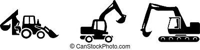 escavador, branca, ícone, fundo, isolado