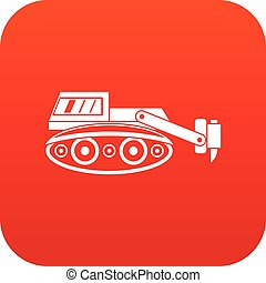 escavador, hidráulico, digital, martelo, vermelho, ícone