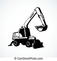 escavador, isolado, desenho, fundo branco