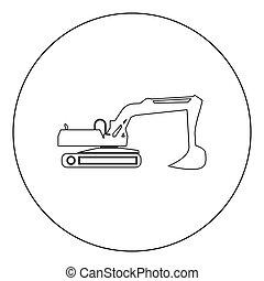 escavador, isolado, ilustração, vetorial, círculo preto, ícone