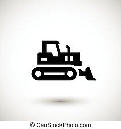 escavadora, crawler, ícone