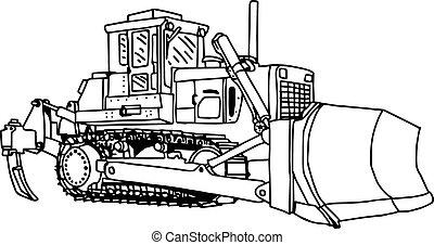 escavadora, escavador, isolated., ilustração, carregador, máquina, vetorial, doodles, desenhado, mão