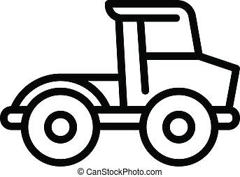 escavadora, estilo, ícone, fazenda, esboço