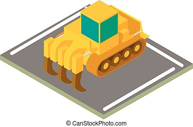 escavadora, industrial, isometric, ícone, estilo
