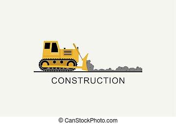 escavadora, nivelado, estrada