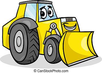 escavadora, personagem, caricatura, ilustração