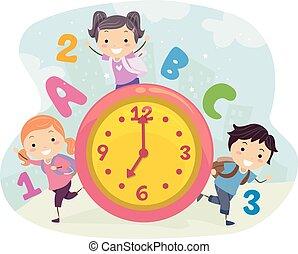 escola brinca, stickman, tempo