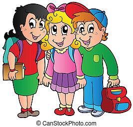 escola brinca, três, feliz