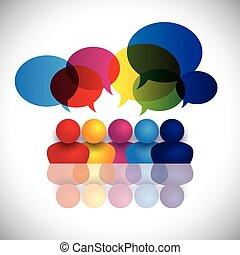 escola, conceito, escritório, crianças, falando, vetorial, reunião, ou, pessoal