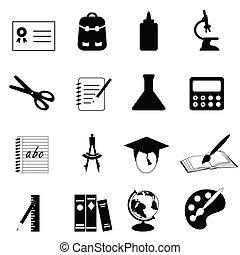 escola, educação, ícones